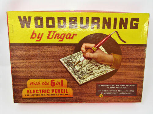 Vintage Woodburning Set Kit By Ungar Working 6 In 1 Electric Pencil No. 203