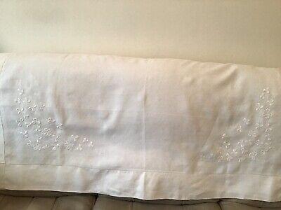 "Vintage Irish White Cotton Embroidered Shamrock Table Cloth 54""x54"""