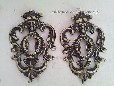 Superbe ornement paire ancien entrée serrure NapIII bronze armoire buffet meuble