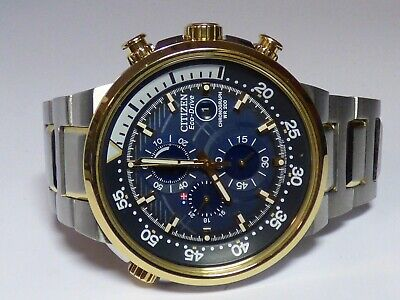 CITIZEN ECO-DRIVE NIGHTHAWK  B612 GOLD STAINLESS STEEL CHRONOGRAPH WATCH
