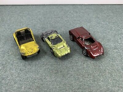 Lot of 3 Vintage Mattel Red Line Hot Wheels Ford J, Sand Crab used Restore