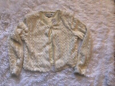 FOREVER 21 SUPER SOFT CREAM CROPPED JACKET COAT FASHION SIZE SMALL S-NWT