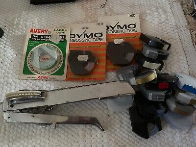 Vintage Dymo M-5 Metal Label Maker Tapewriter With Tapes