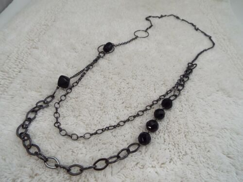 Gunmetal Black Bead Chain Necklace (B39)