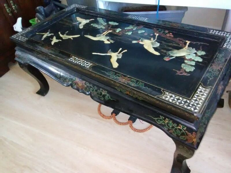 Black Lacquer Coffee Table Mother of Pearl Post Mid-Century Authentic