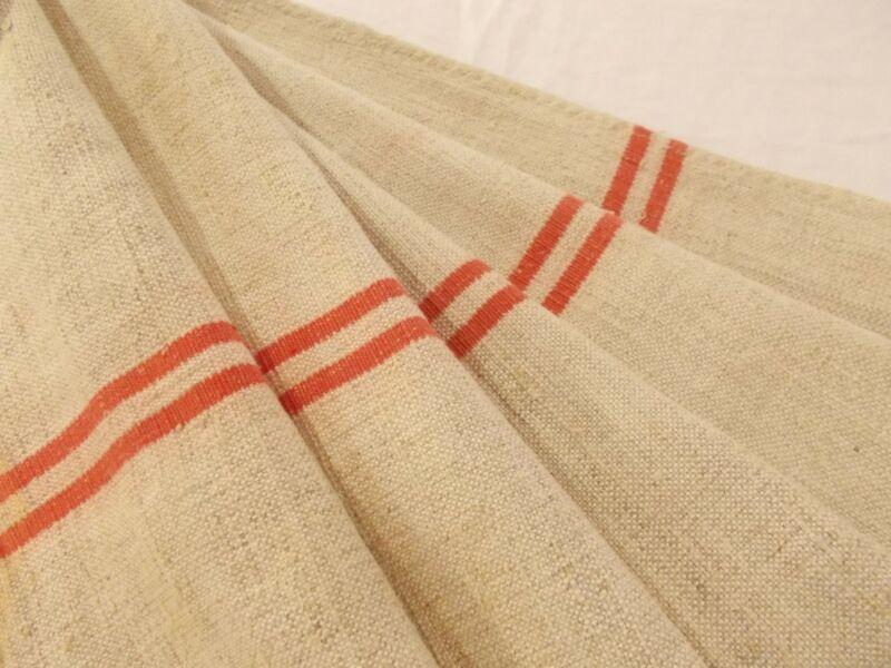 Vtg Antique RED STRIPE FRENCH HEMP LINEN Fabric FEED SACK GRAIN BAG 23X45