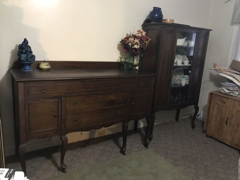 Antique Buffet & China Cabinet - Solid Wood