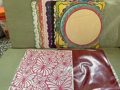 Mixed Lot of Sixteen 12x12 Scrapbook Special Edged Paper papers Round Scalloped