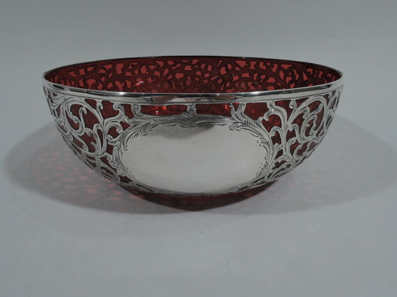 Alvin Bowl - R4526 - Antique Art Nouveau - American Red Glass & Silver Overlay