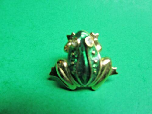 AVON GOLD METAL JEWELED RHINESTONE EYES GREEN ENAMEL FROG BROOCH PIN (CM130)
