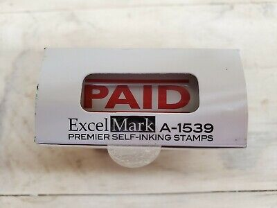 Excelmark Paid Self Inking Rubber Stamp A1539 Red Ink Us Seller Fast Ship