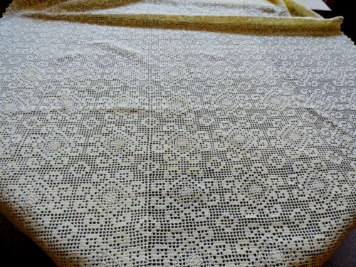 VTG Handmade Crochet Yellow Cream Lace Tablecloth Lace Decor cotton