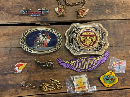 Vintage Honda Gold Wing GL1500 Motorcycle Belt Buckle Pin Eagle Clip Patch Lot