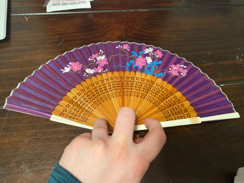 Japanese Folding Fan Vtg Pink Purple Floral Print 60's