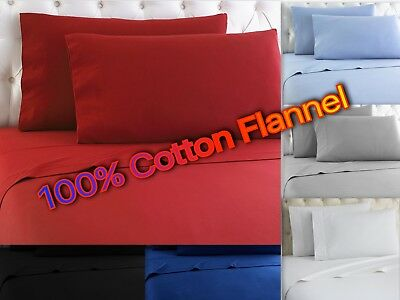 Heavy Winter Flannel 100% Cotton Sheet set Fitted Flat Pillow Cases Deep Pocket -