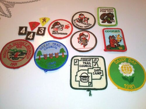 11 Vintage Brownie Girl Scout Patches