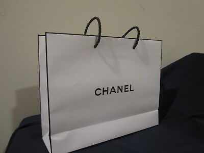 Chanel paper bag collectible 8 by 10 white black trim gift