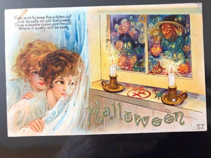 halloween postcard Double Cross, Boy, Girl