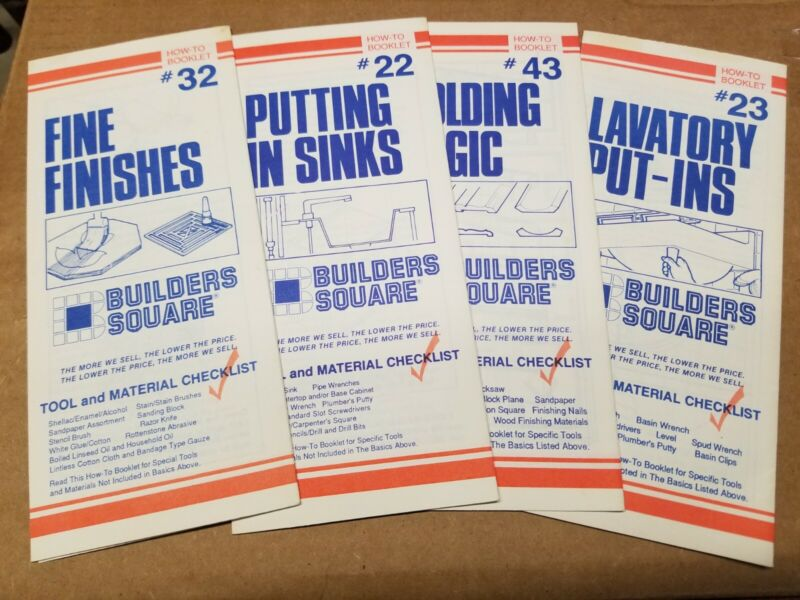Lot of (4) BUILDERS SQUARE How-To Booklet Pamphlet Brochure Construction Build