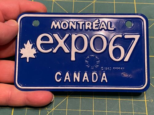 NOS Mint Montreal Expo 67 Canada Souvenir Bike Bicycle License Plate vintage