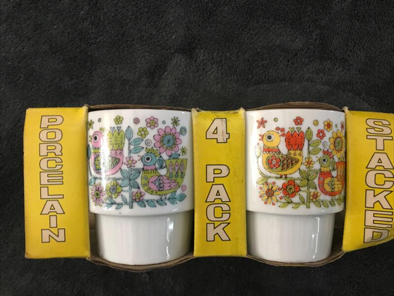 set of 4 vintage Bird flower stacking mugs 8 Oz mod retro mcm Funky Colors NIB