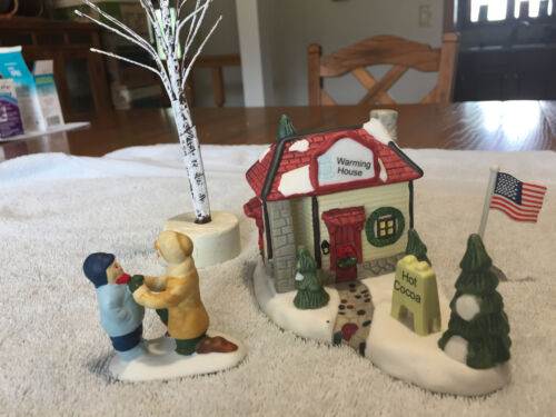 """CHRISTMAS VILLAGE ACCESSORIES - """"WARMING HOUSE"""" , PEOPLE, TREE & FLAG POLE"""