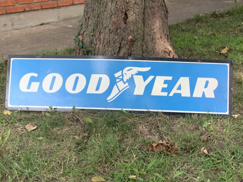"""Original GOODYEAR 48"""" Metal Sign Double Sided Tire Shop Sign Oil Gas Vintage"""