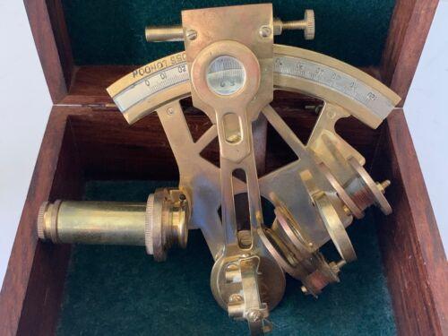 Ross London Brass Nautical Marine Navigation Sextant w/ Original Wood Box London