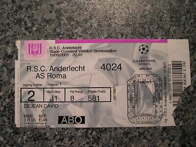 Ticket: Anderlecht - AS Roma UEFA CL (19-9-01)