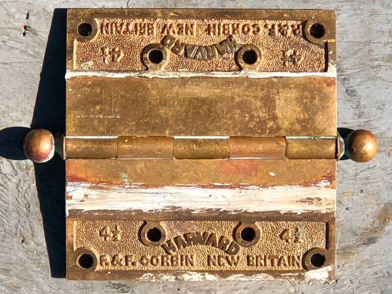 "Pair Of Vintage Solid Bronze P & F Corbin ""HARVARD"" 4 1/2"" Hinges"