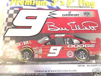Bill Elliott Flags - NASCAR BILL ELLIOTT #9 DODGE  RACING PREMIUM 1 SIDED 3'X5' FLAG BSI NIP