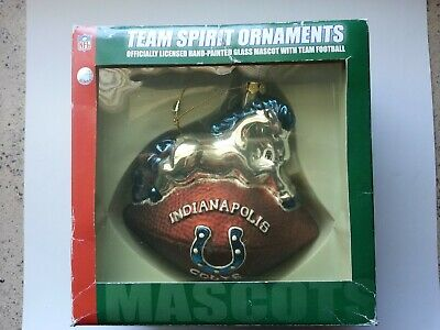 Indianapolis Colts Mascot NFL Licensed Large Handblown Glass Ornament Rare! Nfl Licensed Indianapolis Colts Ornament