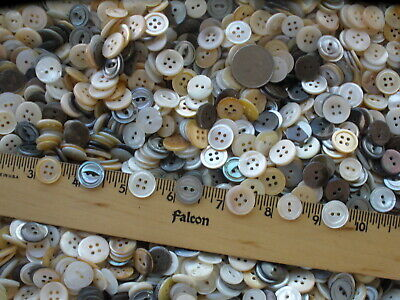 120pcs vintage MOP & USA River Shell Buttons mixed lot 13MM to 15MM 20L 22L 24L