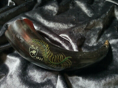 Old Cow Horn Drinking Horn Hand Painted New Zealand 1932
