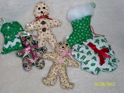 6 CLOTH CHRISTMAS ORNAMENTS HAND-MADE IN THE - Clothing In The 70s