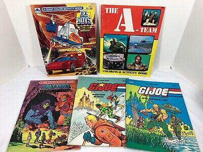 5 Vintage 1980 GI Joe, Go Bots, A-Team, Masters of the Universe Coloring Books