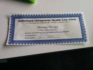 Massage gift certificate $73.50 (1 hour)
