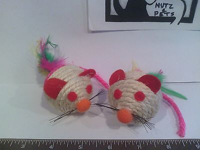 Mice Cat Toy round sisal rattle mouse wholesale closeout lot of 500