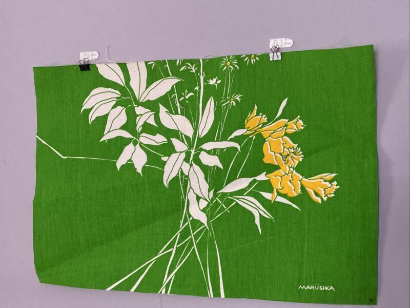 """Vintage Marushka  Wall Art Flowers Linen 13"""" x 20"""" mid century"""