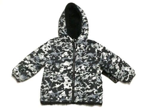 LONDON FOG Infant Boys 18M Black / Camo Print Fleece-to-Poly Reversible Jacket