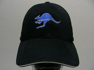 Blue Kangaroo Coffee Roasters   Black   Adjustable Strapback Ball Cap Hat