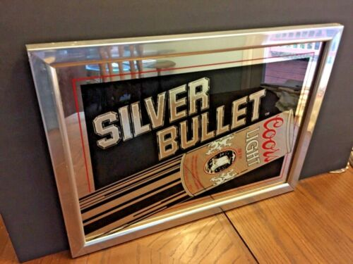 Mirrored Coors Light Silver Bullet Beer Sign in chrome frame