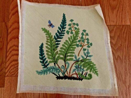Vintage Boho Lovely Crewel Needlepoint  Ferns Completed
