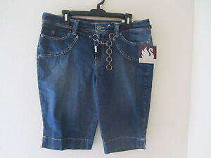 Gloria Vanderbilt PetiteDark Denim Belted Stretch Capris - Sz 14P - NEW!!