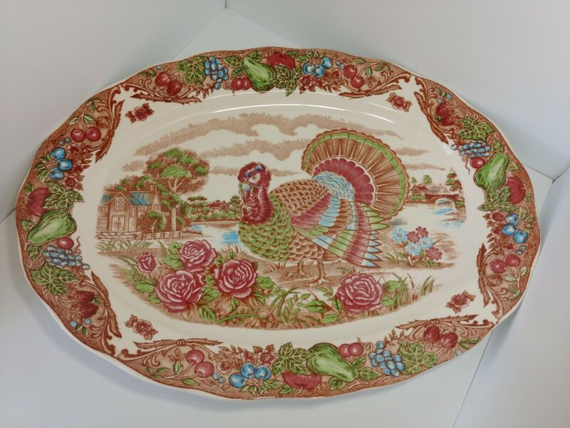 "Vintage Large Thanksgiving Christmas Holiday Turkey Platter 18"" x 13.5"" Japan"