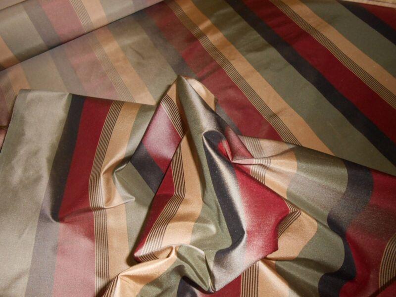 7Y new TRAVERS striped silk taffeta fabric Red Olive green Beige Brown