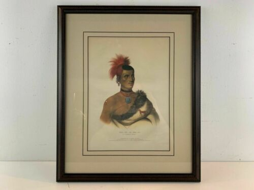 1841 Pes-Ke-Le-Cha-Co, Pawnee Portrait Native American McKenny Lithograph Framed