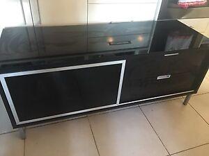 Tv Glass black cabinet Ashmore Gold Coast City Preview