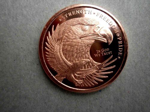 "American Bald Eagle- Back USA Flag - 1 oz Copper Round ""NEW"""