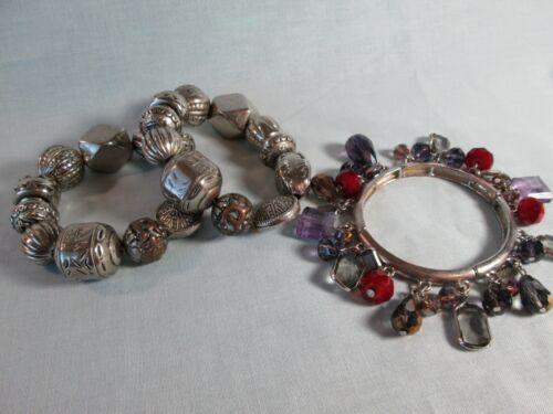 Bracelet Lot of 3: Silver Tone Stretch / Multi-Color Acrylic Rhinestone Beads